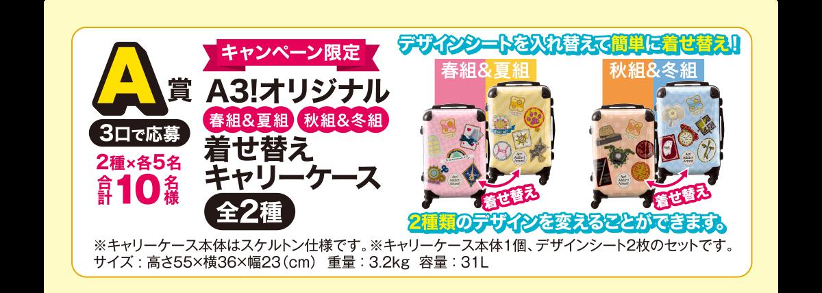 A賞:キャンペーン限定A3!オリジナル着せ替えキャリーケース